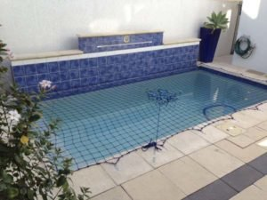 Pool Safety Net on courtyard plunge pool