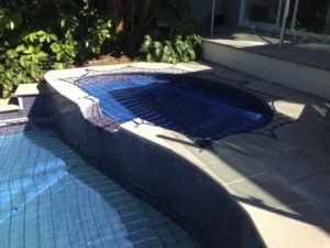 Pool Safety Net on split-level pool
