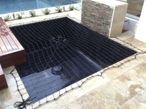 Removable net fitted to Koi pond