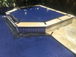 Cover fits to raised spa.
